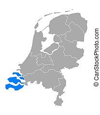 kaart, zeeland, nederland