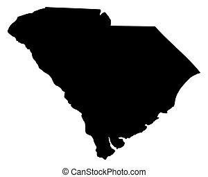 kaart, zuidelijke carolina