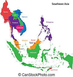 kaart, zuidoostelijk, azie