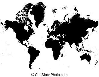 kaart, zwart wit, wereld