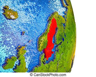 kaart, zweden, 3d, aarde