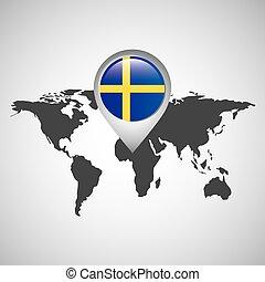 kaart, zweden, wijzer, vlag, wereld
