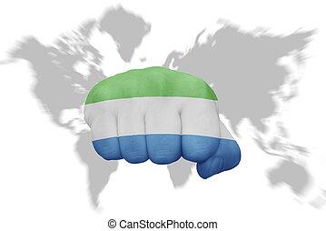 kaartachtergrond, nationale vlag, fist, sierra, wereld, leone