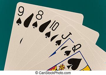 kaarten, 08, recht, pook, blos