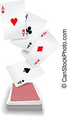 kaarten, azen, pook, spelend, dek