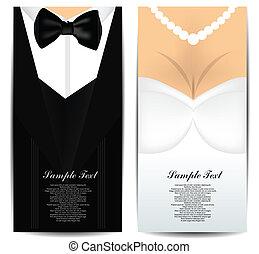 kaarten, bruid, bruidegom, zakelijk