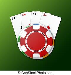kaarten, casino spaanders, spelend