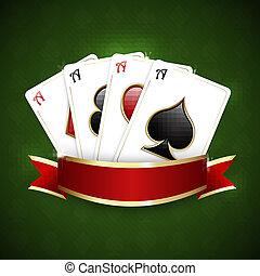 kaarten, casino, spelend, achtergrond