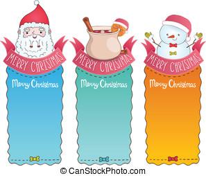 kaarten, claus, kerstmis, kerstman