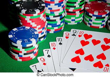 kaarten, concept, frites, casino