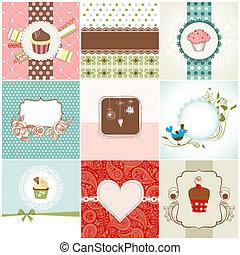 kaarten, cupcakes, set, groet