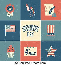 kaarten, dag, onafhankelijkheid, verzameling