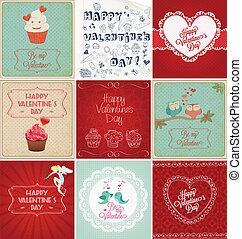 kaarten, dag, verzameling, valentine