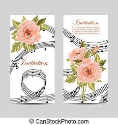 kaarten, design., set, uitnodiging, trouwfeest