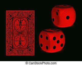 kaarten, dobbelsteen, rood