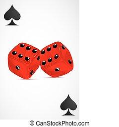 kaarten, dobbelsteen, spelend