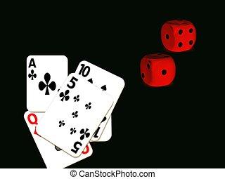 kaarten, dobbelsteen