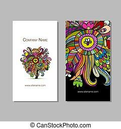 kaarten, floral, zakelijk, ontwerp, achtergrond
