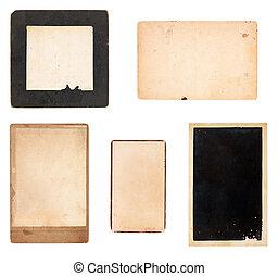kaarten, foto, vijf, verzameling, ouderwetse