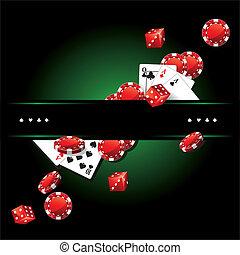kaarten, frites, casino, pook, achtergrond
