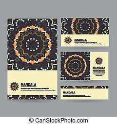 kaarten, getrokken, mandala., set, hand