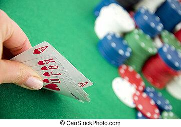 kaarten, gokkende spaanders