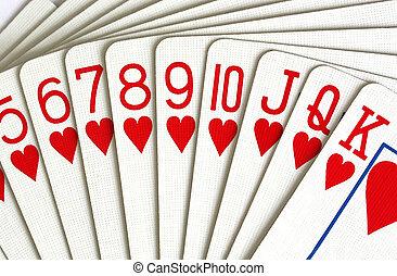 kaarten, hartjes, spelend