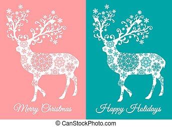 kaarten, hertje, vector, kerstmis