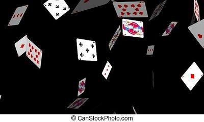 kaarten, het vallen, spelend