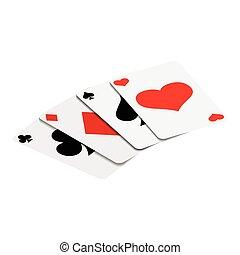 kaarten, isometric, 3d, spelend, pictogram
