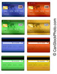 kaarten, krediet, set