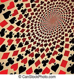 kaarten., kunst, spelend, op