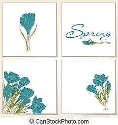 kaarten, lentebloemen, krokus