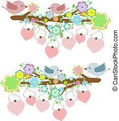 kaarten, met, stellen, van, vogels, zittende , op, takken, met, hangend, hartjes