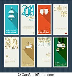 kaarten, nieuw, set, kerstmis, jaar