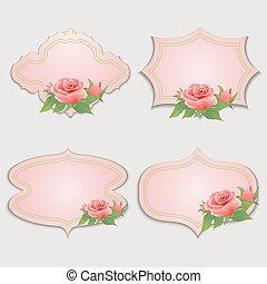 kaarten, ouderwetse , set, rose., groet