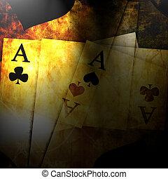 kaarten, ouderwetse , spelend