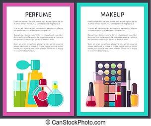 kaarten, paar, makeup, parfum, veelkleurig