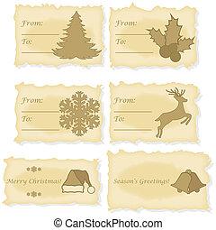kaarten, papier, oud, bedrukt, kerstmis