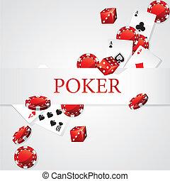 kaarten, pokerchips, dobbelsteen