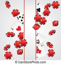 kaarten, pook, casino spaanders, achtergrond