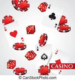 kaarten, pook, casino spaanders
