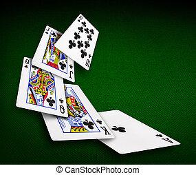 kaarten, pook, casino, spelend