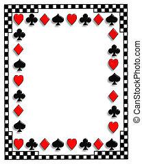 kaarten, pook, grens, spelend