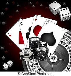 kaarten, roulette, dobbelsteen, spelend