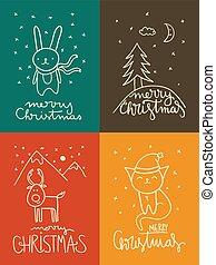 kaarten, schattig, kerstmis, doodle