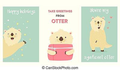 kaarten, schattig, set, groet, otters