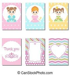 kaarten, schattig, set, pri, creatief