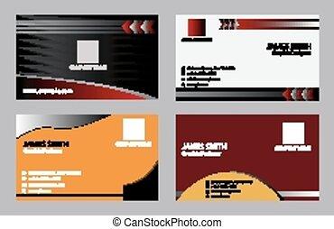 kaarten, set, 4, zakelijk