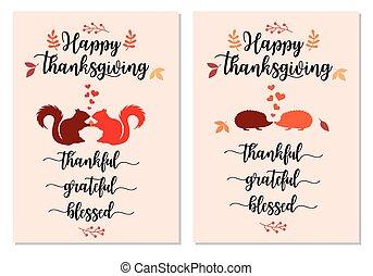 kaarten, set, dankzegging, eekhoorns, hedgehogs, vector, schattig